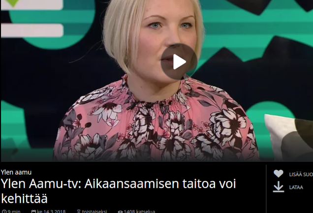 Ylen Aamu-tv: Aikaansaamisen taitoa voi kehittää